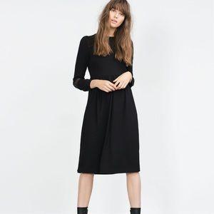 NWT Zara Black Lace Appliqué Sleeve Midi Dress